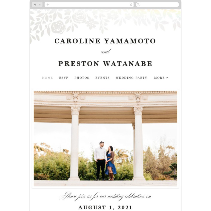 """Floral Garden"" - Wedding Websites in Charcoal by Yaling Hou Suzuki."