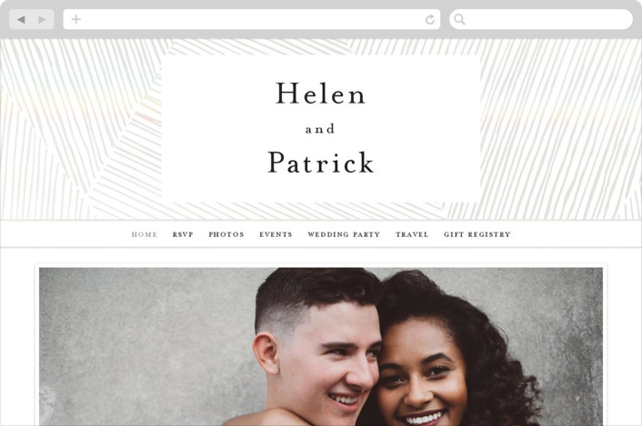 This is a white wedding website by Annie Shapiro called Lineup printing on digital paper.