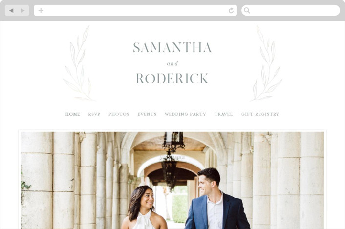 This is a grey wedding website by Kelly Schmidt called Chic Wreath printing on digital paper.