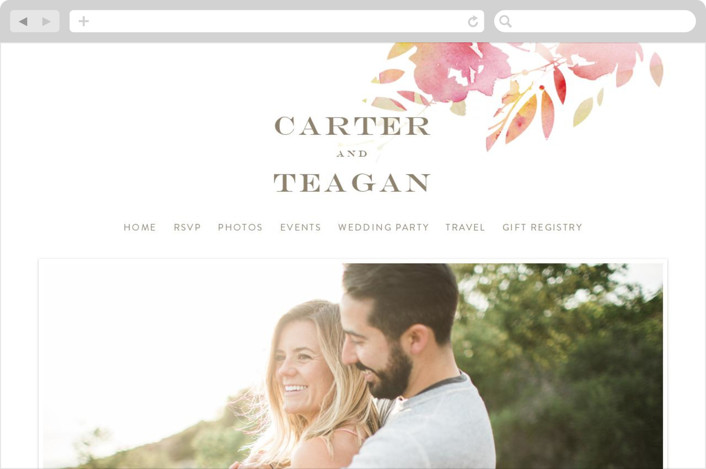 """""""Stately Florals"""" - Floral & Botanical, Modern Wedding Websites in Poppy by Lori Wemple."""