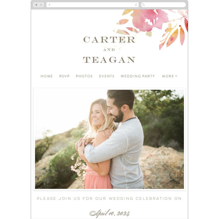"""Stately Florals"" - Floral & Botanical, Modern Wedding Websites in Poppy by Lori Wemple."