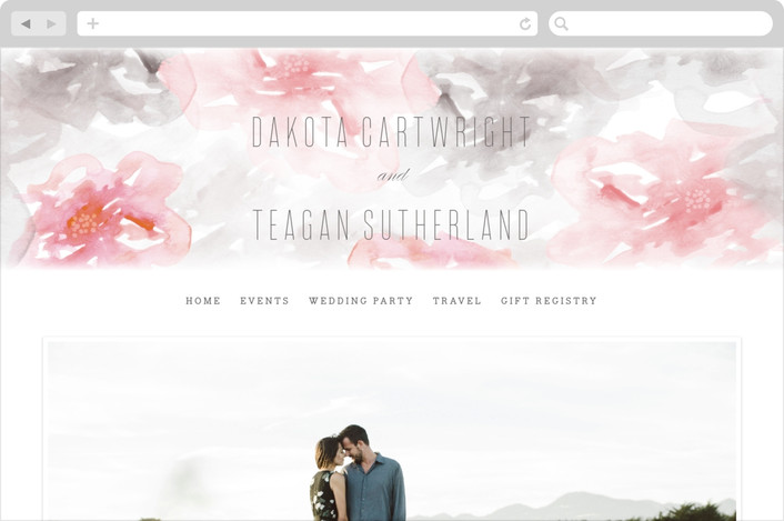 """Flora Romance"" - Floral & Botanical, Abstract Wedding Websites in Rose by Melanie Severin."