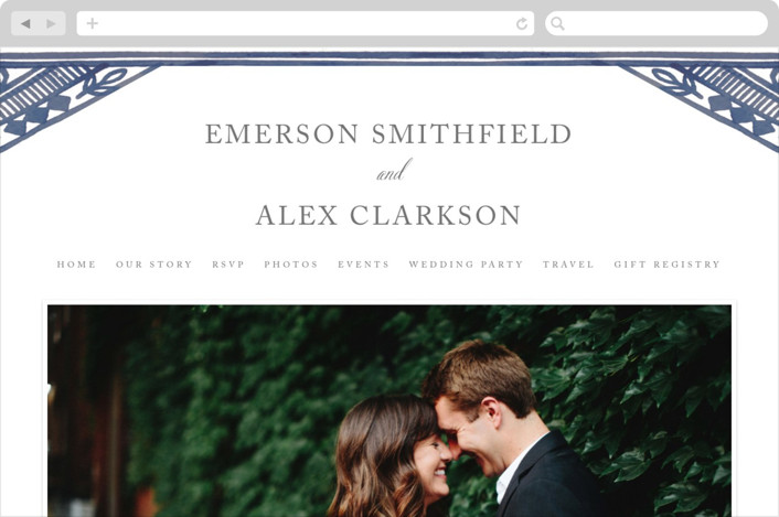 """Ornate Watercolor Frame"" - Classical, Simple Wedding Websites in Lapis by Katharine Watson."