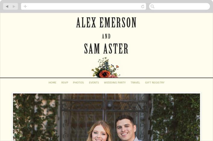 """""""Vintage Garden Invite"""" - Floral & Botanical, Vintage Wedding Websites in Vintage Beige by Alisa Wismer."""