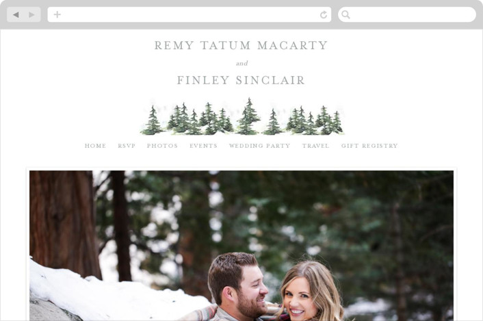"""On the Slopes"" - Destination, Rustic Wedding Websites in Fog by Mere Paper."