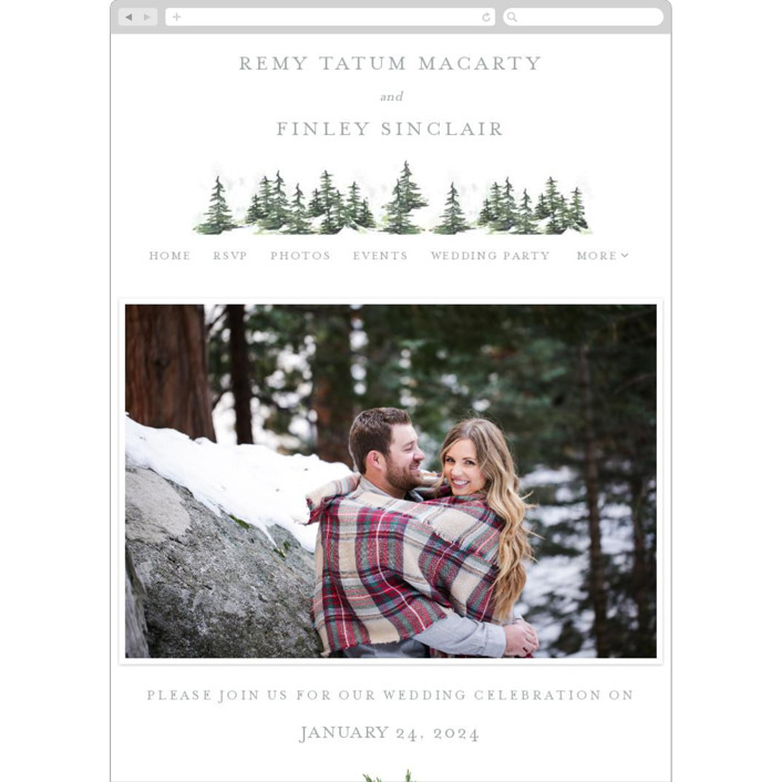 """""""On the Slopes"""" - Destination, Rustic Wedding Websites in Fog by Mere Paper."""