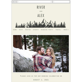 This is a beige wedding website by Hannah Williams called Mountain Affair printing on digital paper.