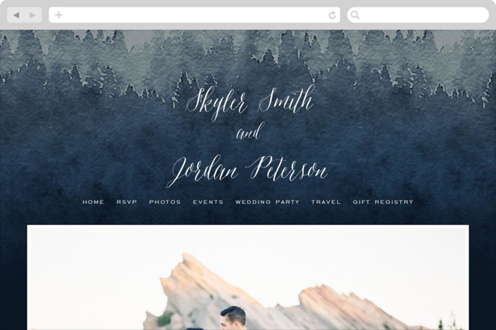 """Mountain Retreat"" - Destination, Modern Wedding Websites in Evening Sky by Design Lotus."