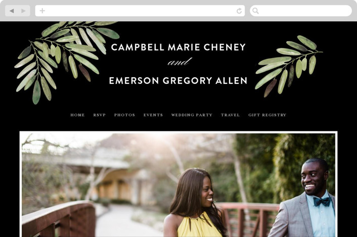 """Parting Branches"" - Rustic, Bold typographic Wedding Websites in Midnight by Haley Warner."