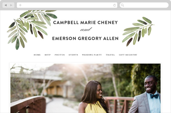 This is a white wedding website by Haley Warner called Parting Branches printing on digital paper.