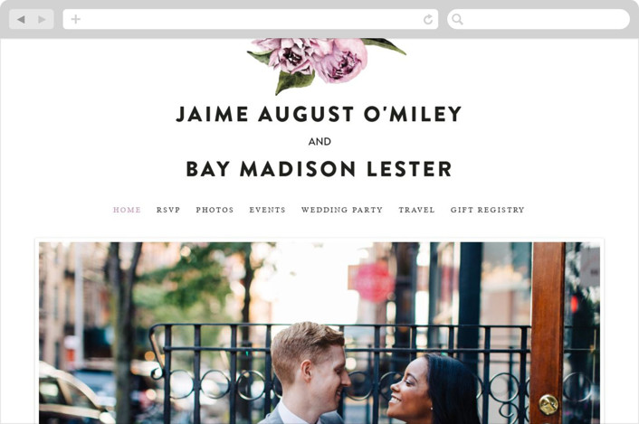 """""""Peony"""" - Floral & Botanical Wedding Websites in Ice Mist by Cass Loh."""