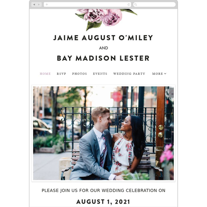 """Peony"" - Floral & Botanical Wedding Websites in Ice Mist by Cass Loh."