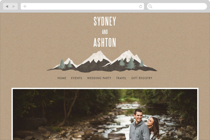 """Rustic Mountain"" - Rustic, Destination Wedding Websites in Charcoal by Karidy Walker."