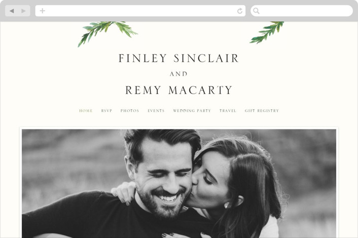 """Simple Pine Branches"" - Rustic, Simple Wedding Websites in Vanilla by Mere Paper."
