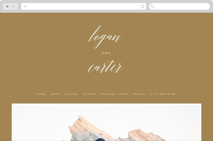 This is a gold wedding website by Design Lotus called Someone Like You printing on digital paper.