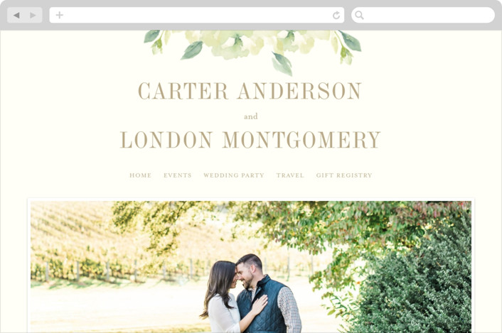 """Southern Garden"" - Floral & Botanical Wedding Websites in Moss by Lori Wemple."