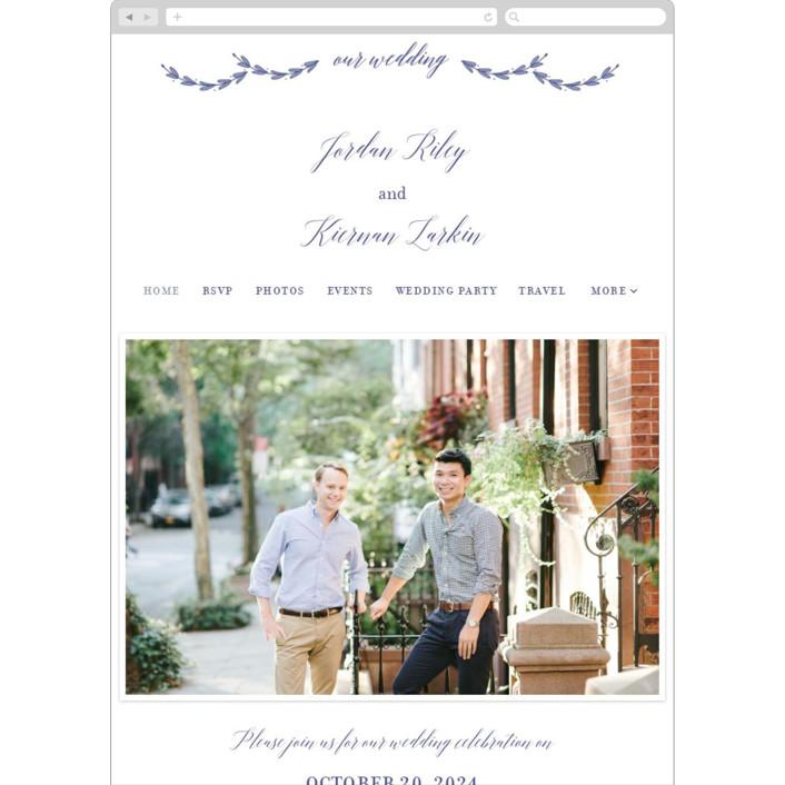 """""""United"""" - Monogram, Classical Wedding Websites in Cobalt by Susan Brown."""