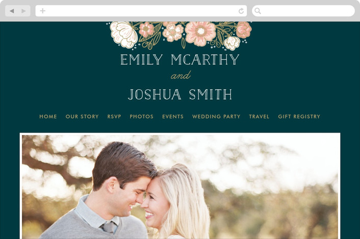 """Country Florals"" - Wedding Websites in Navy by Alethea and Ruth."