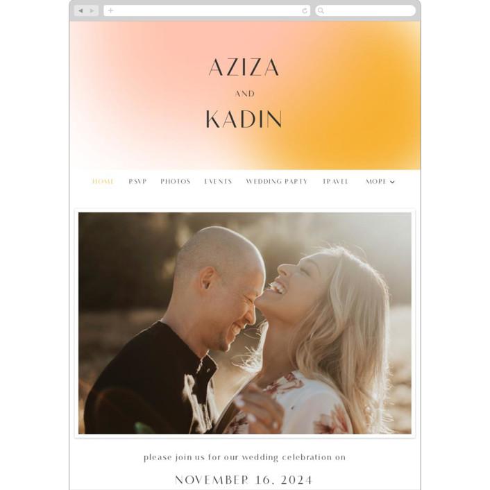 """Blend"" - Modern Wedding Websites in Honeysuckle by Sarah Lenger."