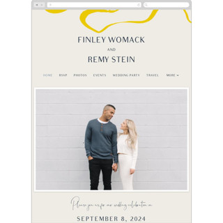 This is a yellow wedding website by Mere Paper called Ophelia printing on digital paper in standard.