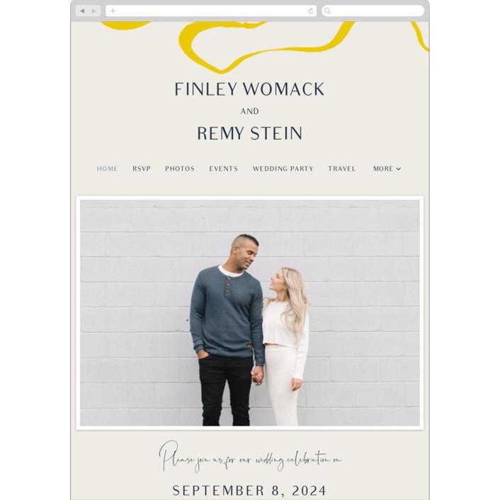 """Ophelia"" - Modern Wedding Websites in Golden by Mere Paper."