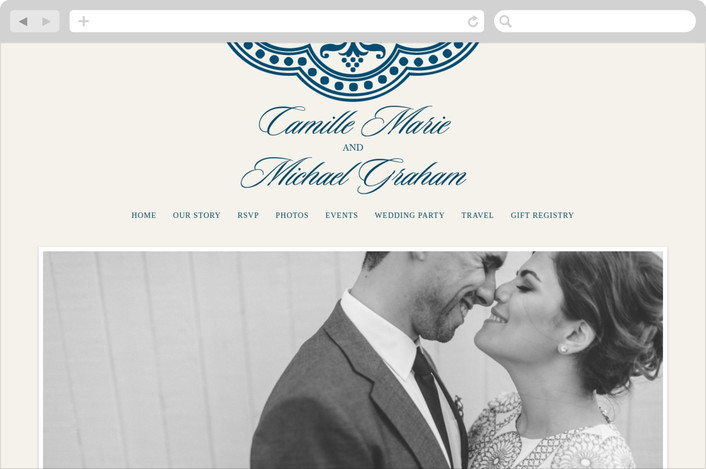 """Ornamental"" - Vintage Wedding Websites in Sapphire by Paperview Designs."
