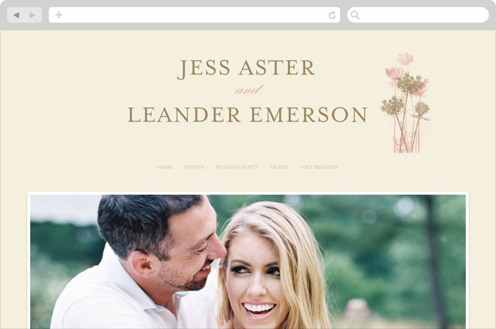"""Rustic Queen Anne"" - Floral & Botanical, Rustic Wedding Websites in Vintage Rose by Brynn Rose Designs."
