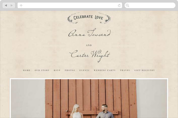 """""""Vintage Letter"""" - Vintage Wedding Websites in Parchment by Erin Pescetto."""