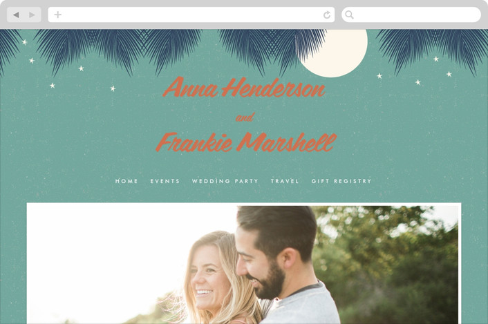 """Retro Hawaii"" - Destination, Beach Wedding Websites in Midnight Blue by Coco and Ellie Design."