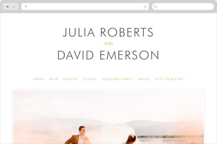 """Minimalist Display"" - Simple Wedding Websites in Orange by Coco and Ellie."