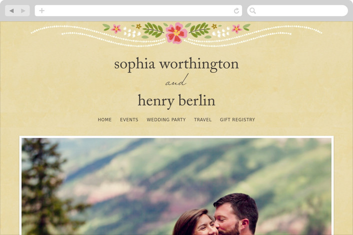 """Wisteria"" - Rustic, Floral & Botanical Wedding Websites in Pink Berry by Griffinbell Paper Co.."