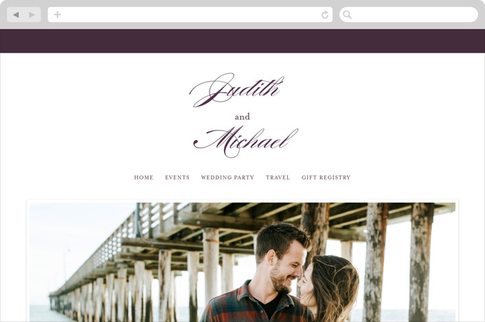 """Framed"" - Wedding Websites in Plum by Roxy Cervantes."