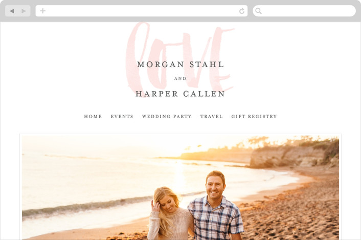 """Bare Love"" - Simple, Modern Wedding Websites in Blush by Sara Hicks Malone."