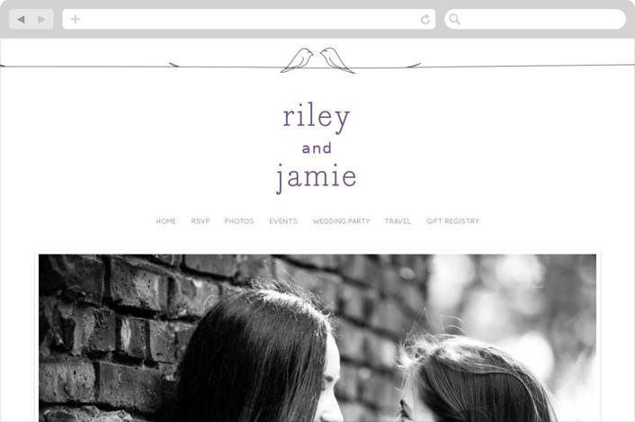"""Birds of a Feather"" - Simple, Modern Wedding Websites in Plum by R studio."