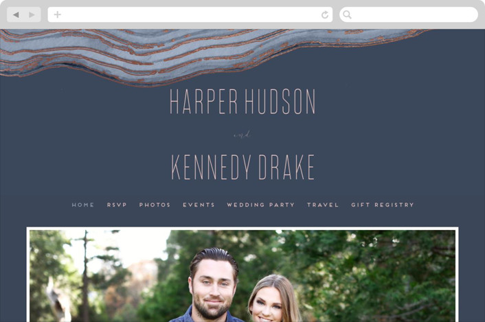 """Modern Agate"" - Wedding Websites in Navy by Kaydi Bishop."