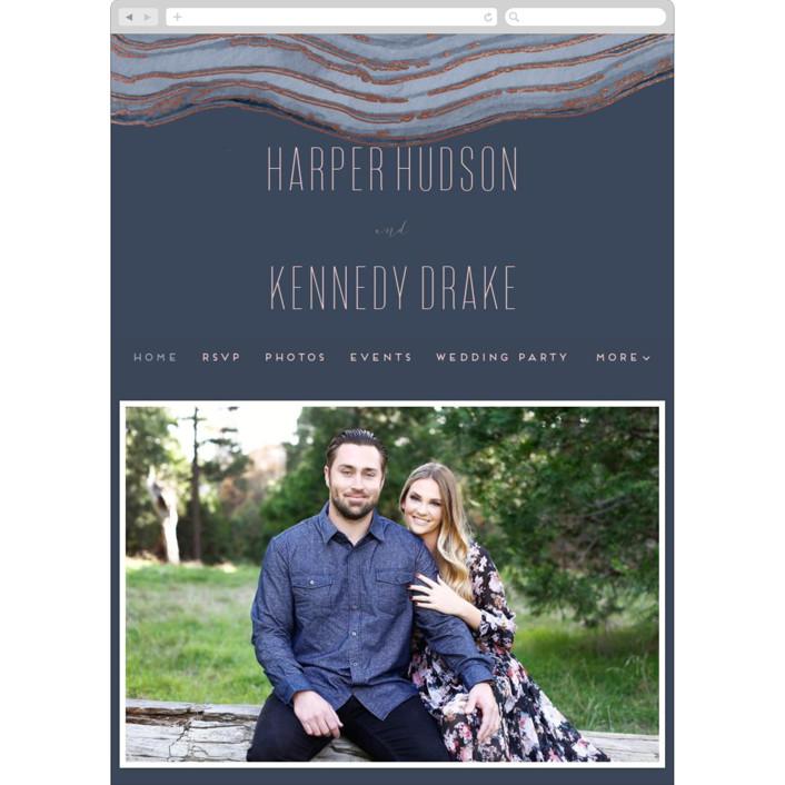 """Modern Agate"" - Wedding Websites in Navy by Kaydi Bishop."