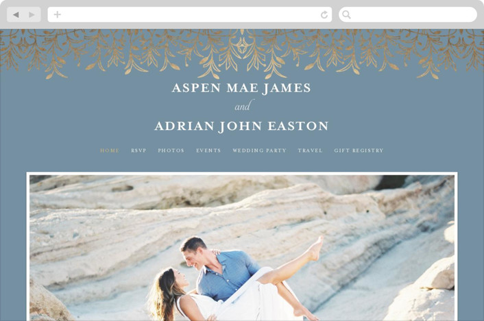 """EMERY"" - Bohemian Wedding Websites in Slate by Melanie Kosuge."