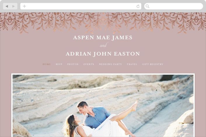 This is a pink wedding website by Melanie Kosuge called EMERY printing on digital paper.