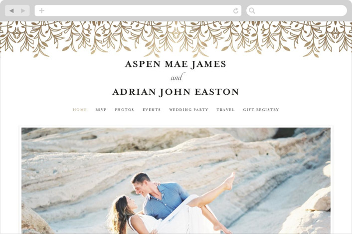 This is a black and white wedding website by Melanie Kosuge called EMERY printing on digital paper.