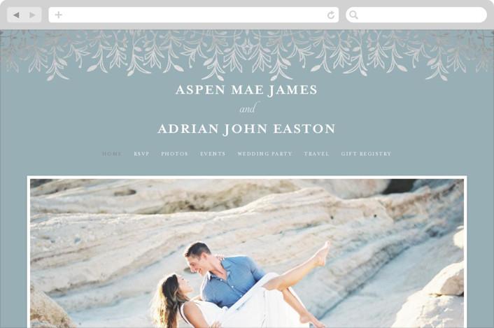 This is a blue wedding website by Melanie Kosuge called EMERY printing on digital paper.