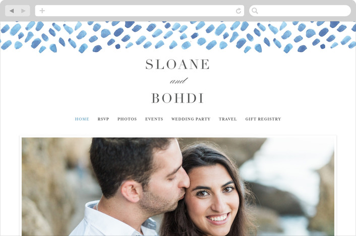 """watercolor dashes"" - Wedding Websites in Ocean Blue by Jennifer Wick."