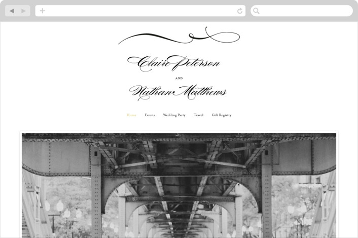"""Dapper Amper"" - Wedding Websites in Bronze by Snow and Ivy."