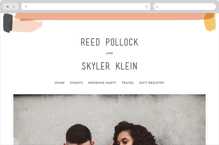 """Brush"" - Abstract, Modern Wedding Websites in Carnation by Half Pint Studio."