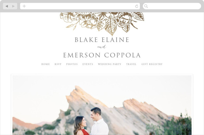 This is a gold wedding website by Smudge Design called Gilded Wildflowers printing on digital paper.