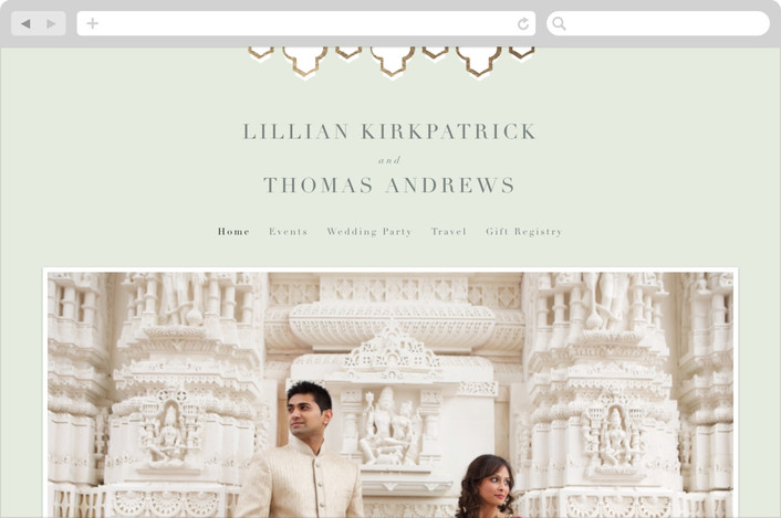 """""""Foiled Arabesque"""" - Wedding Websites in Mint by Bourne Paper Co.."""