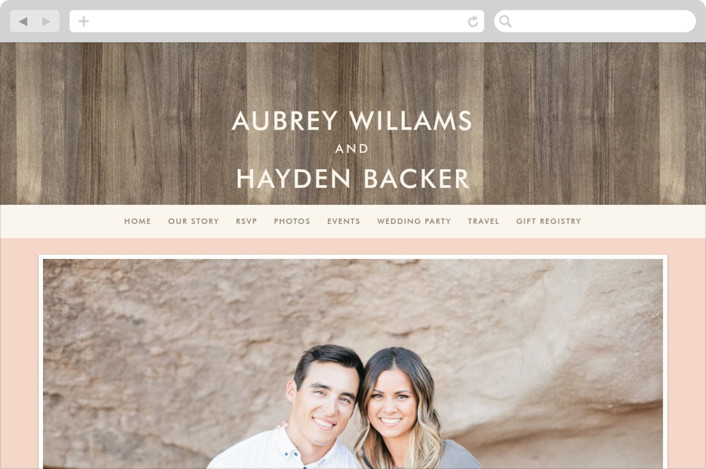 This is a pink wedding website by Johanna McShan called Modern Barn Wood printing on digital paper.