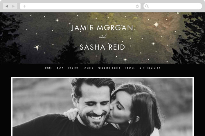 This is a grey wedding website by Elly called Starry, Starry Night printing on digital paper.