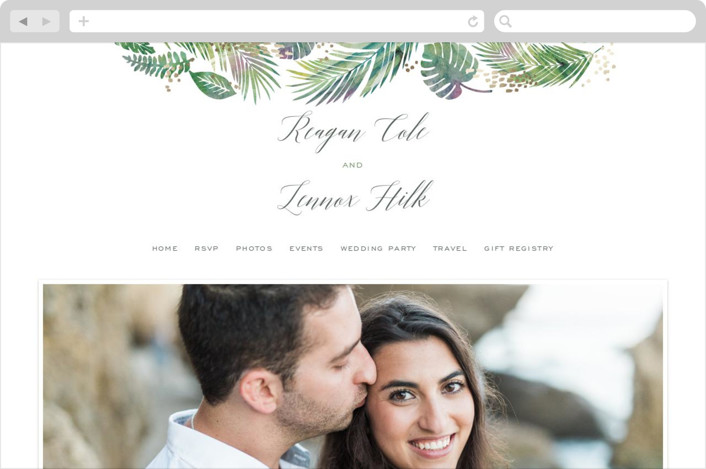 This is a green wedding website by Hooray Creative called Tropical Foliage printing on digital paper.