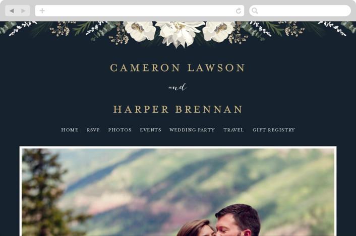 """Peonies & Berries"" - Floral & Botanical Wedding Websites in Winter White by Susan Moyal."