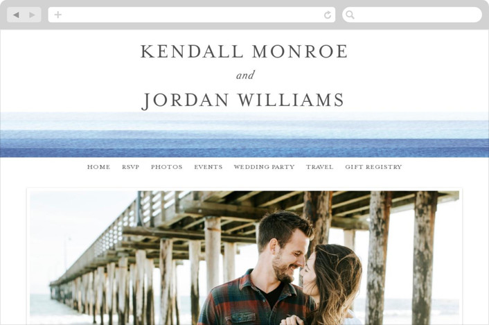 """Watercolour Stripe"" - Beach, Classical Wedding Websites in Azure by Bethan."